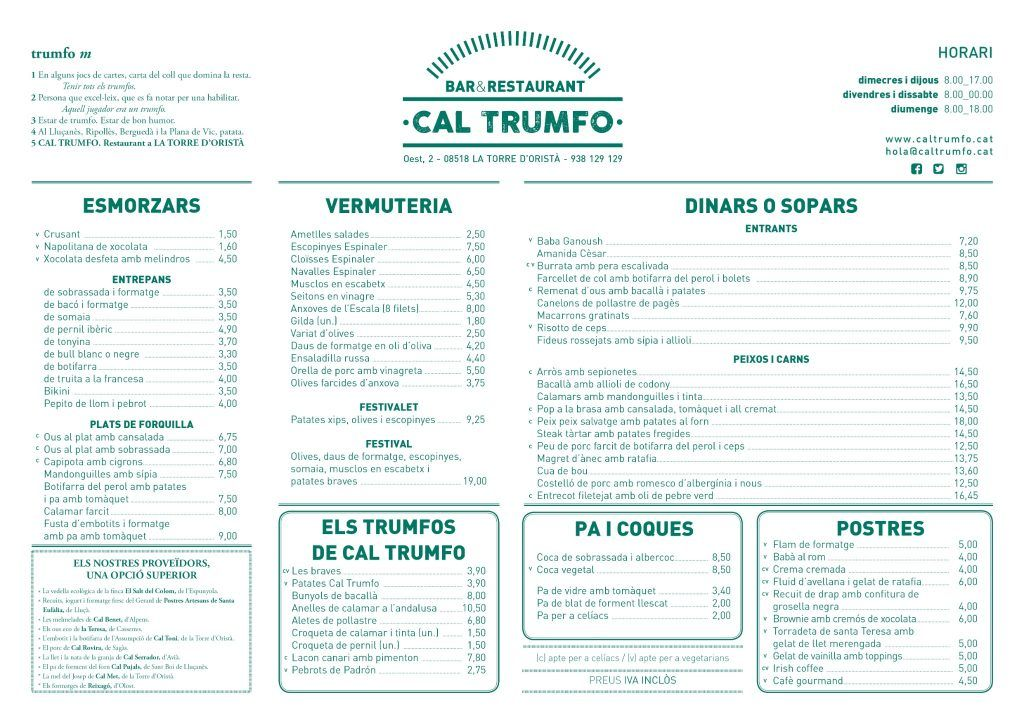 Menú Cal Trumfo 2019